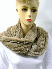 SNOOD en Fourrure Polaire 2 Tours de cou couleur Taupe   accessoire mode Femme