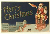 Red Robe~Santa Claus on Roof over City~w. Torch Antique Christmas Postcard-m846