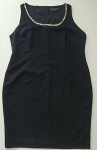 Marina Rinaldi Pencil Dress Sleeveless Crystal Collar Black Zip Back Size 27