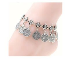 Boho Gypsy Antique Silver Plate Coin Anklet Ankle Bracelet Beach Foot Jewellery