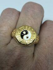 Vintage Ying Yang Men's Ring Golden Stainless Steel Size 13.25