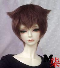 "7-8"" 18-19cm BJD Fabric Fur wig Brown short For 1/4 BJD Doll MSD DOC DZ LUTS"
