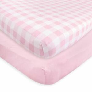 Touched By Nature Girl Organic Fitted Crib Sheets, 2-Pack, Plaid Pink