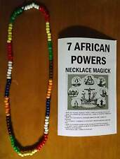 """7 African Powers necklace beads 7 color santeria Over 30"""" Inches + Free Gift !"""