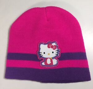 Girl's Hello Kitty Knit Beanie Hat Cap One Size Fits Most Pink & Purple Sanrio