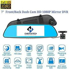 """Car Dash Cam Front/Rearview Mirror Camera with Touch Screen, Full HD, 1080p,7"""""""