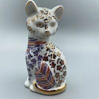 Vintage Porcelain Japan Japanese Imari Style Neko Kitty Cat Blue Orange Gold