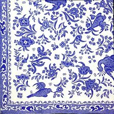3 x Single Paper Napkins For Decoupage Craft Blue Flowers on White Burleigh M459