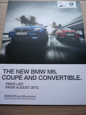 BMW M6 COUPE & CONVERTIBLE PRICE LIST CAR  BROCHURE  AUGUST 2012
