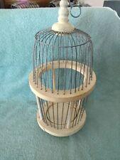 Vintage Wood & Wire Metal Single Bird Cage Globe Style Decor Use