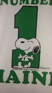 Vtg  Champion Snoopy Ringer T Shirt  1# Maine Made in USA