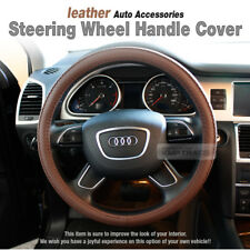 Brown Leather Car Steering Wheel Cover Auto Accessories For all Vehicle