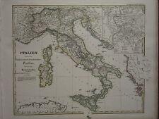 1846 SPRUNER ANTIQUE HISTORICAL MAP ~ ITALY UNDER SAXONY HOHENSTAUFEN ROME PLAN
