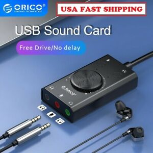 ORICO USB External Sound Card 2-in-1 Audio Adapter 3.5mm Stereo For Headset Mic