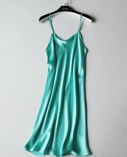Women 100% Silk Sexy Chemise dress Full Slips Sleepwear Lingerie Au 10 12 green