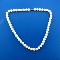 Vintage Mother-of-pearl Shell Bead Necklace strand 8 mm Round 16.5 ""
