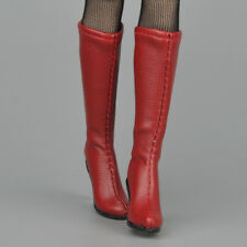 "1/6 Scale Female Mid-calf Knee High Boots Red For 12"" Female Hot Toys Figure"