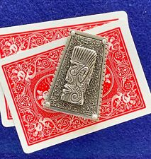 """Poker Card Guard/Protector """"Henry 3rd"""", Handmade Sterling Silver, Chrome style"""