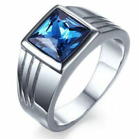 Stainless Steel Wedding Ring Mens Blue Sapphire Size 7,8,9,10,11 Fashion Gift