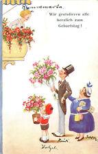 AK Geburtstag 1940 Wir gratulieren alle - Frau auf Balkon - Familie mit Blumen