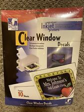 """Static Clear Cling Window Decals for Inkjet Printers 8.5""""x11"""" 10 Sheets New"""