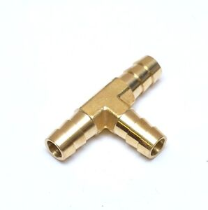3/8 Hose ID Barb Tee Three Way Equal Brass Fitting Fuel Air Water Oil Vacuum