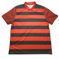 NIKE GOLF Men's Size 2XL XXL Standard Fit Stripe Dri-Fit Golf Polo Red Orange