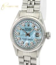 Rolex Lady  Datejust 26mm Ice Blue MOP Diamond Dial Engine Turned Bezel Watch