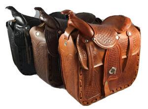 Western Saddle Purse Leather Handbag Bolsa Montura Piel