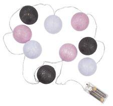 LED Lichterkette Rattan Kugeln Licht Girlande Beleuchtung weiß grau rosa