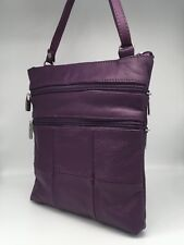 Genuine Leather Purple Cross body Satchel Messenger bag Purse
