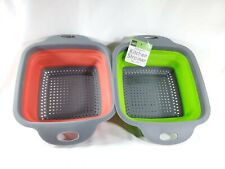 2 Strainer Collapsible Kitchen Colander  Vegetable Fruit Basket Tool 2Pack Red/G