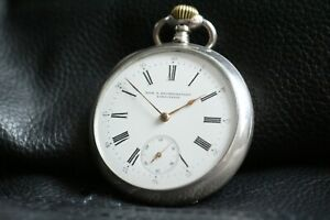 OMEGA Vintage 1897`s CAL19LB SILVER (0.800) Enameled LUXURY Antique Swiss Watch