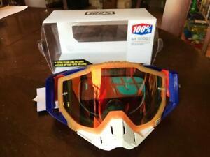 100% The Racecraft MX Derestrict Red Lens Motorsport Motorcross Dirt Bike Goggle