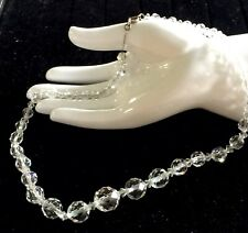 ANTIQUE 1920s ART DECO FACETED ROCK CRYSTAL BEAD STERLING SILVER CHAIN NECKLACE