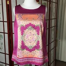 212 Collection Womens Top Blouse Multi Color Sleeveless Boho Floral Brocade S