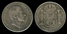 50 Centimos ALFONSO 1880 Spanish Philippines RARE Coin