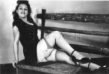 1940s-60s (6 x 4) Repro Risque Pinup RP- Super Endowed- Skirt- Garter- Legs