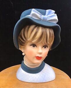 Vintage LARGE NAPCO Ceramic Lady Head Vase 1950's Lovely C7498