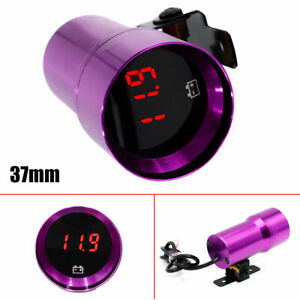 37mm Red LED Digital Voltage Gauge Compact Micr Digital Smoked Lens Purple