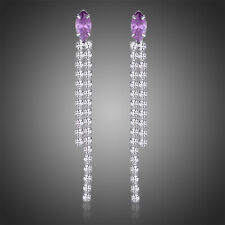 White Gold Plated Purple Cubic Zircon Long Drop Dangle Women Earrings Jewelry