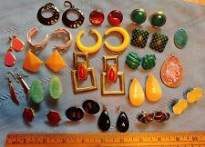 Lot of Vintage Pierced Earrings & Pendants 80's Retro Mod Style Enamel & Other