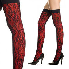 Gothic Floral Opaque Designer Thigh High Fishnet Stocking Pantyhose Hosiery OS