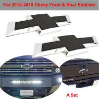 Black Front & Tailgate Bowtie Emblem Set For 2016-2019 GM Chevy Silverado 1500
