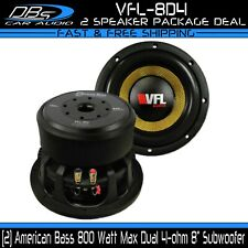 "2 American Bass VFL-8D4 8"" Subwoofer 1600 Watts Dual 4-ohm Car Audio Sub 1 Pair"