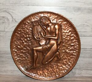 Vintage copper wall hanging plate man playing on lyre Orpheus