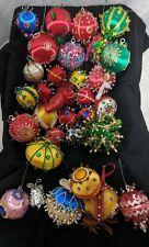 31 Vintage lot Handmade ORNATE Jewel Bead Satin Ball Christmas Ornament Push Pin