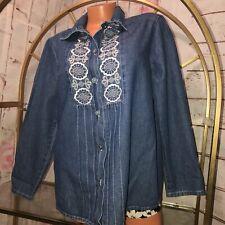 BTB Better Than Basic Women's Sz L Embroidered Denim Shirt (10)