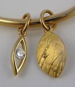 Ola Gorie 9ct Yellow Gold Diamond Oval Bangle Mistral Scottish