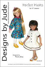 """Pleated Dress Doll Clothes Sewing Pattern 11"""" Leeann Dolls"""